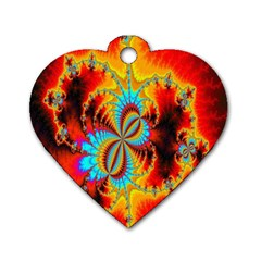Crazy Mandelbrot Fractal Red Yellow Turquoise Dog Tag Heart (One Side)