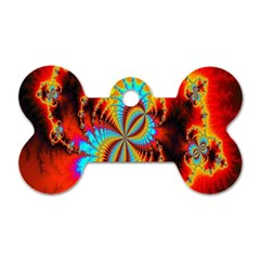 Crazy Mandelbrot Fractal Red Yellow Turquoise Dog Tag Bone (one Side) by EDDArt