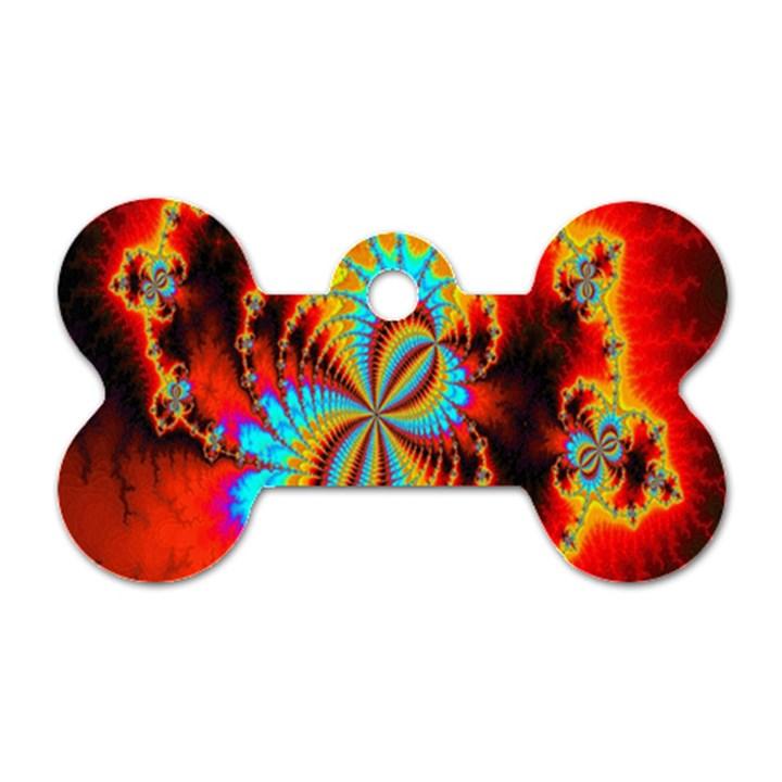 Crazy Mandelbrot Fractal Red Yellow Turquoise Dog Tag Bone (One Side)