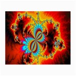 Crazy Mandelbrot Fractal Red Yellow Turquoise Small Glasses Cloth (2-Side) Front