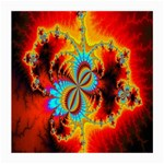 Crazy Mandelbrot Fractal Red Yellow Turquoise Medium Glasses Cloth Front