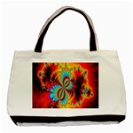 Crazy Mandelbrot Fractal Red Yellow Turquoise Basic Tote Bag (Two Sides) Back
