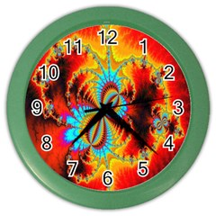 Crazy Mandelbrot Fractal Red Yellow Turquoise Color Wall Clocks by EDDArt