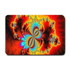 Crazy Mandelbrot Fractal Red Yellow Turquoise Small Doormat  by EDDArt