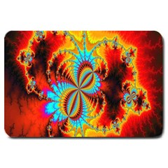 Crazy Mandelbrot Fractal Red Yellow Turquoise Large Doormat  by EDDArt