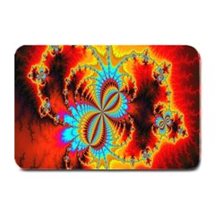 Crazy Mandelbrot Fractal Red Yellow Turquoise Plate Mats by EDDArt