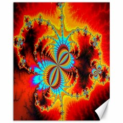 Crazy Mandelbrot Fractal Red Yellow Turquoise Canvas 11  X 14   by EDDArt