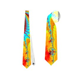 Crazy Mandelbrot Fractal Red Yellow Turquoise Neckties (one Side)