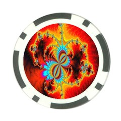 Crazy Mandelbrot Fractal Red Yellow Turquoise Poker Chip Card Guards by EDDArt
