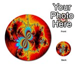 Crazy Mandelbrot Fractal Red Yellow Turquoise Multi-purpose Cards (Round)  Front 50