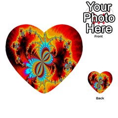 Crazy Mandelbrot Fractal Red Yellow Turquoise Multi-purpose Cards (Heart)