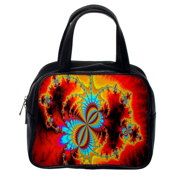 Crazy Mandelbrot Fractal Red Yellow Turquoise Classic Handbags (One Side)