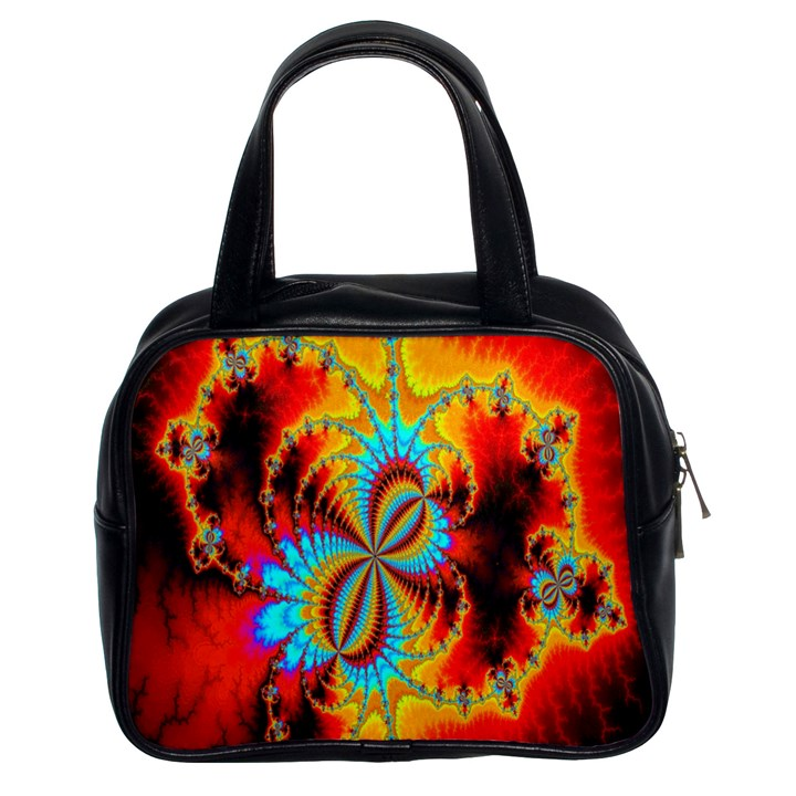 Crazy Mandelbrot Fractal Red Yellow Turquoise Classic Handbags (2 Sides)
