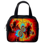 Crazy Mandelbrot Fractal Red Yellow Turquoise Classic Handbags (2 Sides) Back