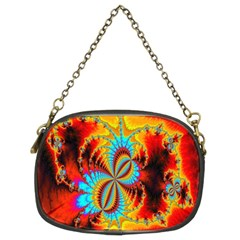 Crazy Mandelbrot Fractal Red Yellow Turquoise Chain Purses (two Sides)  by EDDArt