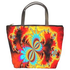 Crazy Mandelbrot Fractal Red Yellow Turquoise Bucket Bags by EDDArt