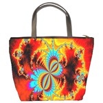 Crazy Mandelbrot Fractal Red Yellow Turquoise Bucket Bags Back