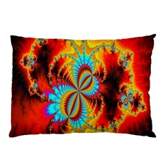 Crazy Mandelbrot Fractal Red Yellow Turquoise Pillow Case by EDDArt