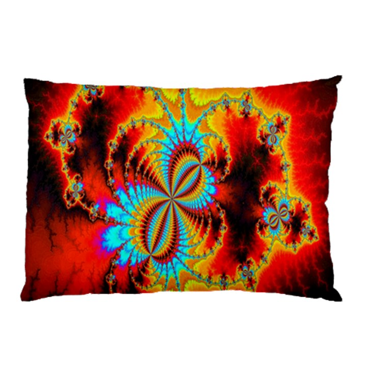 Crazy Mandelbrot Fractal Red Yellow Turquoise Pillow Case