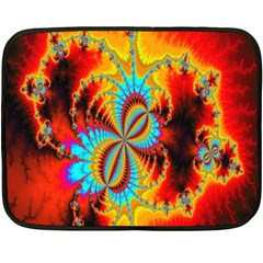 Crazy Mandelbrot Fractal Red Yellow Turquoise Fleece Blanket (mini) by EDDArt