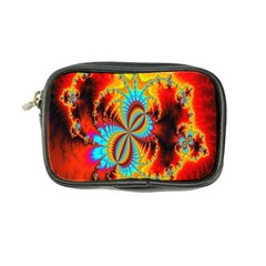 Crazy Mandelbrot Fractal Red Yellow Turquoise Coin Purse by EDDArt