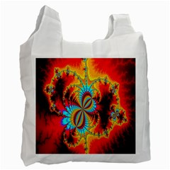 Crazy Mandelbrot Fractal Red Yellow Turquoise Recycle Bag (two Side)  by EDDArt