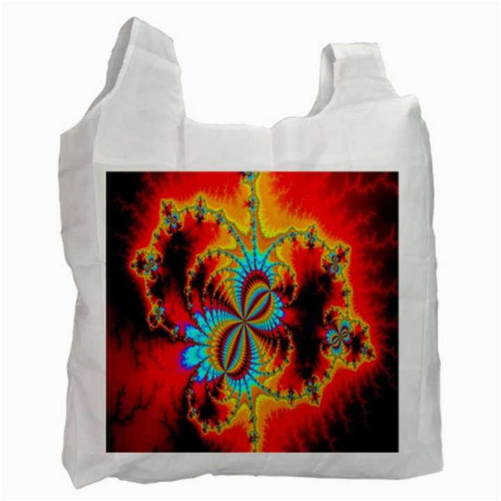 Crazy Mandelbrot Fractal Red Yellow Turquoise Recycle Bag (Two Side)