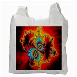 Crazy Mandelbrot Fractal Red Yellow Turquoise Recycle Bag (Two Side)  Back