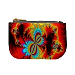 Crazy Mandelbrot Fractal Red Yellow Turquoise Mini Coin Purses Front