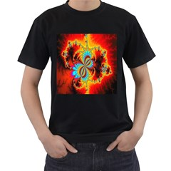 Crazy Mandelbrot Fractal Red Yellow Turquoise Men s T Shirt (black) by EDDArt
