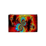 Crazy Mandelbrot Fractal Red Yellow Turquoise Cosmetic Bag (Small)  Front