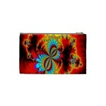 Crazy Mandelbrot Fractal Red Yellow Turquoise Cosmetic Bag (Small)  Back