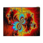 Crazy Mandelbrot Fractal Red Yellow Turquoise Cosmetic Bag (XL) Back