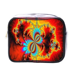 Crazy Mandelbrot Fractal Red Yellow Turquoise Mini Toiletries Bags by EDDArt