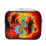 Crazy Mandelbrot Fractal Red Yellow Turquoise Mini Toiletries Bags Front