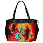 Crazy Mandelbrot Fractal Red Yellow Turquoise Office Handbags (2 Sides)  Front