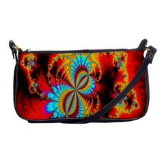 Crazy Mandelbrot Fractal Red Yellow Turquoise Shoulder Clutch Bags by EDDArt