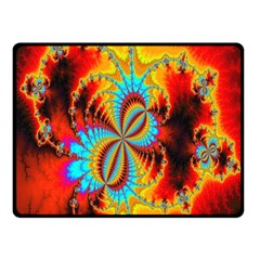Crazy Mandelbrot Fractal Red Yellow Turquoise Fleece Blanket (small) by EDDArt
