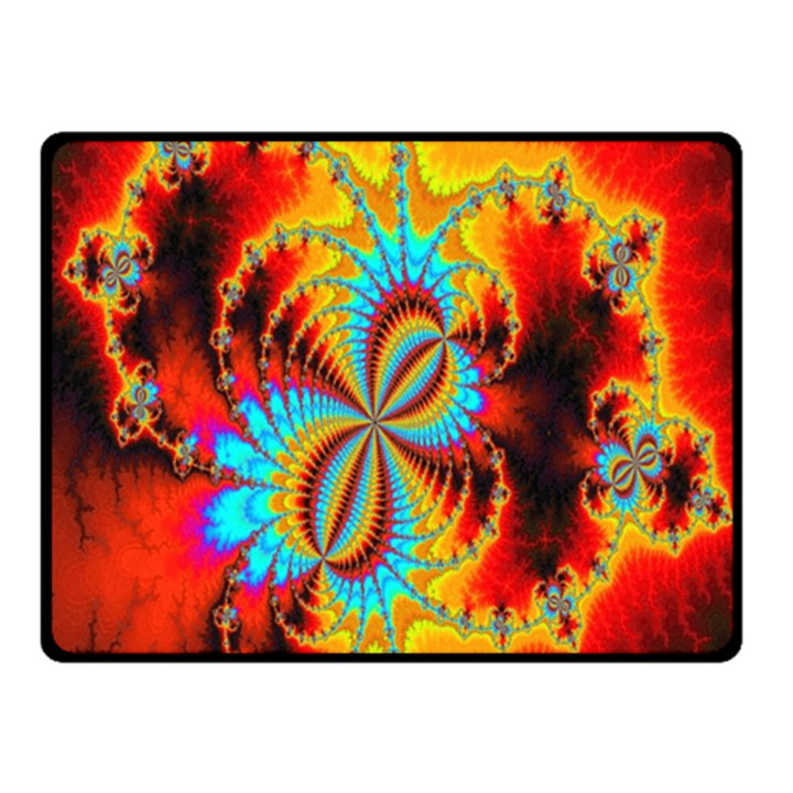 Crazy Mandelbrot Fractal Red Yellow Turquoise Fleece Blanket (Small)