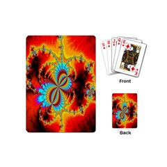 Crazy Mandelbrot Fractal Red Yellow Turquoise Playing Cards (Mini)