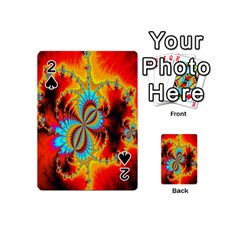 Crazy Mandelbrot Fractal Red Yellow Turquoise Playing Cards 54 (mini)  by EDDArt