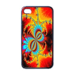 Crazy Mandelbrot Fractal Red Yellow Turquoise Apple Iphone 4 Case (black) by EDDArt
