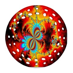 Crazy Mandelbrot Fractal Red Yellow Turquoise Round Filigree Ornament (2Side)