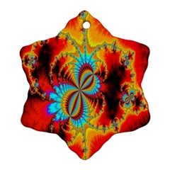Crazy Mandelbrot Fractal Red Yellow Turquoise Snowflake Ornament (2 Side) by EDDArt