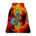 Crazy Mandelbrot Fractal Red Yellow Turquoise Bell Ornament (2 Sides) Front