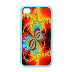 Crazy Mandelbrot Fractal Red Yellow Turquoise Apple iPhone 4 Case (Color)
