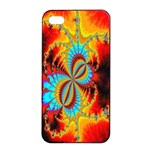 Crazy Mandelbrot Fractal Red Yellow Turquoise Apple iPhone 4/4s Seamless Case (Black) Front