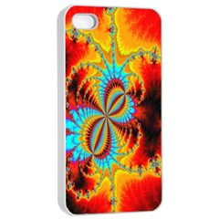 Crazy Mandelbrot Fractal Red Yellow Turquoise Apple iPhone 4/4s Seamless Case (White)