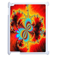 Crazy Mandelbrot Fractal Red Yellow Turquoise Apple iPad 2 Case (White)