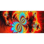 Crazy Mandelbrot Fractal Red Yellow Turquoise Twin Hearts 3D Greeting Card (8x4) Front